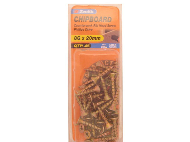 Chipboard Screws 8G x 20mm Gold Passivated 45 Pack