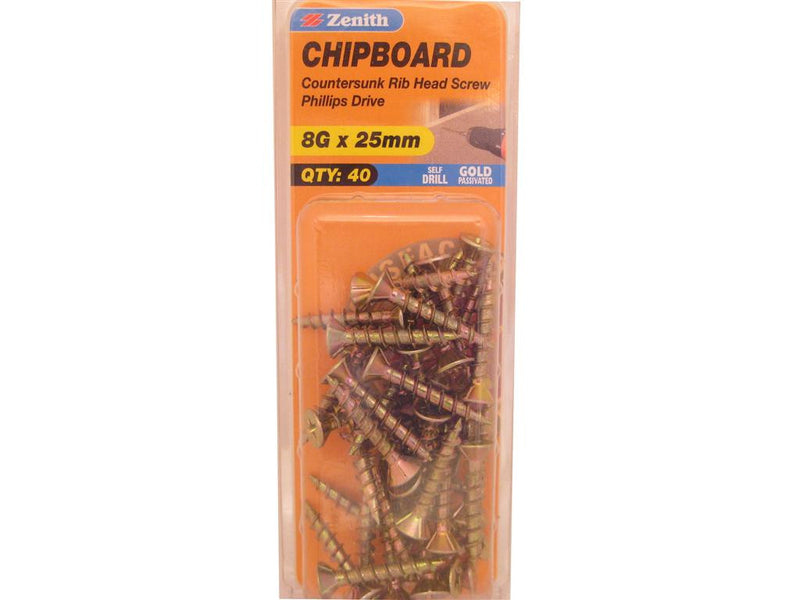 Zenith Chipboard Screws 8G x 25mm Gold Passivated 40 Pack