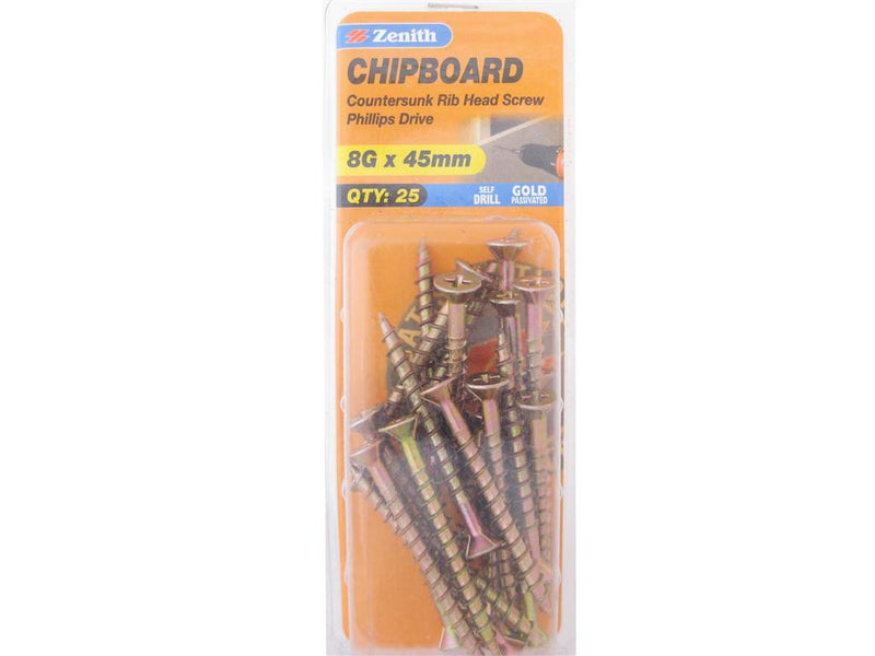 Zenith Chipboard Screws 8G x 45mm Gold Passivated 25 Pack