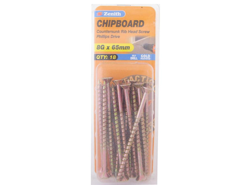 Zenith Chipboard Screws 8G x 65mm Gold Passivated 18 Pack