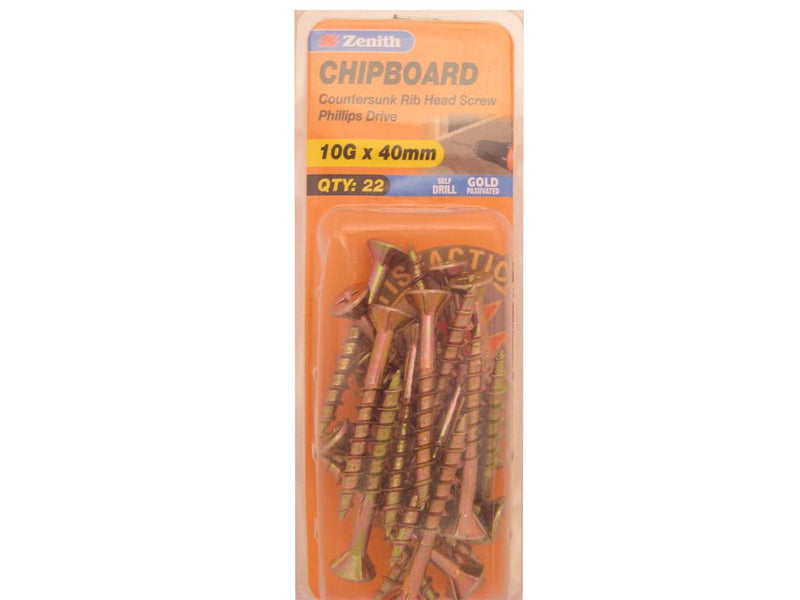 Zenith Chipboard Screws 10G x 40mm Gold Passivated 22 Pack
