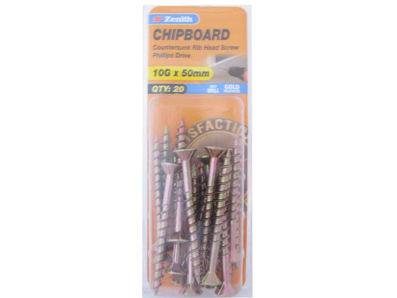 Zenith Chipboard Screws 10G x 50mm Gold Passivated 20 Pack