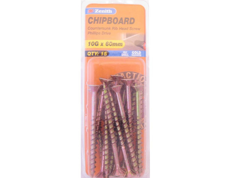 Zenith Chipboard Screws 10G x 60mm Gold passivated 15 Pack