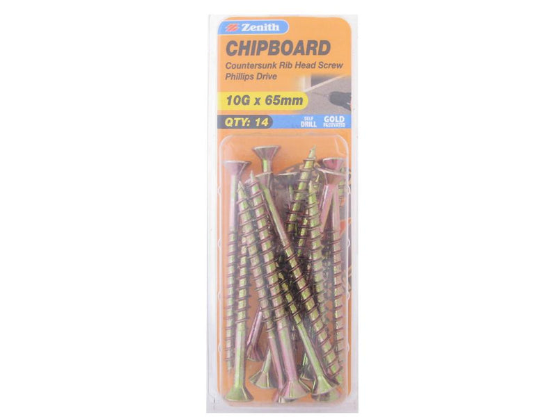 Zenith Chipboard Screws 10G x 65mm Gold Passivated 14 Pack