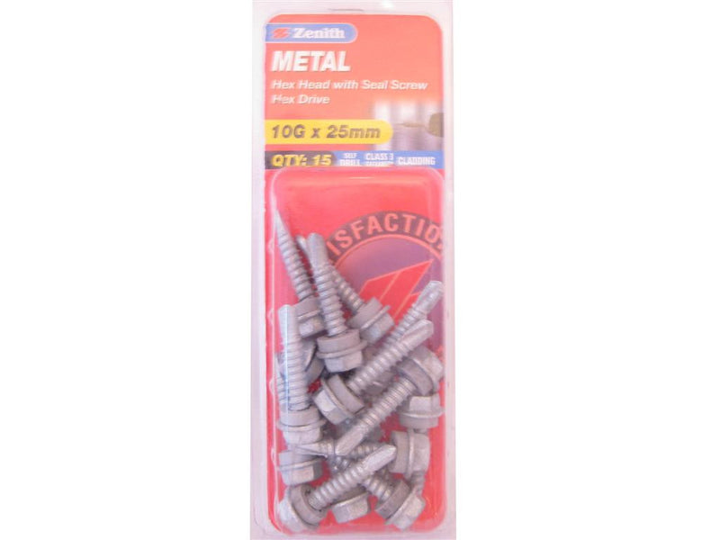 Zenith Metal Screw 10G x 25mm Galvanised 15 Pack