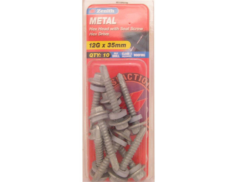 Zenith Metal Screw 12G x 35mm Galvanised 10 Pack