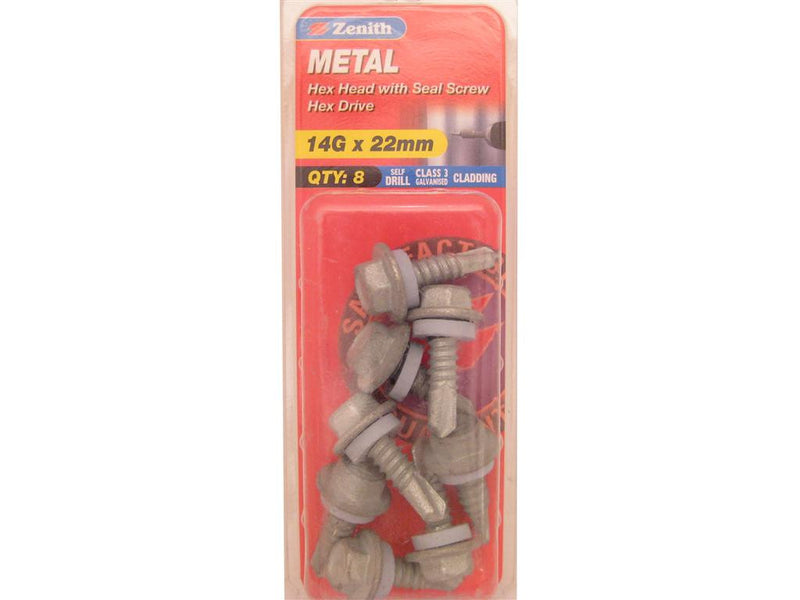 Zenith Metal Screw 14G x 22mm Galvanised 8 Pack