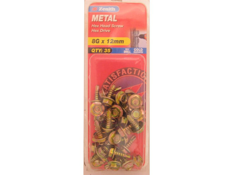 Zenith Metal Screw 8G x 12mm Gold Passivated 35 Pack