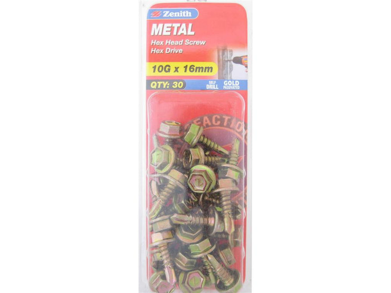 Zenith Metal Screw 10G x 16mm Gold Passivated 30 Pack