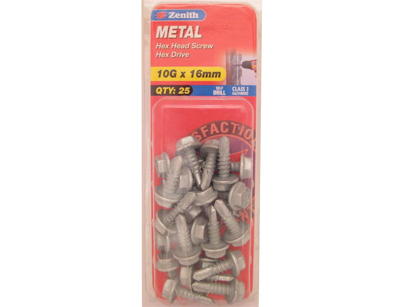Zenith Metal Screw 10G x 16mm Galvanised 25 Pack