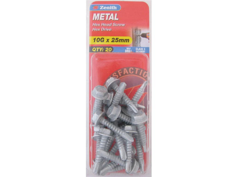 Zenith Metal Screw 10G x 25mm Galvanised 20 Pack