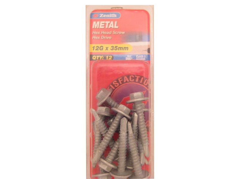 Zenith Metal Screw 12G x 35mm Galvanised 12 Pack