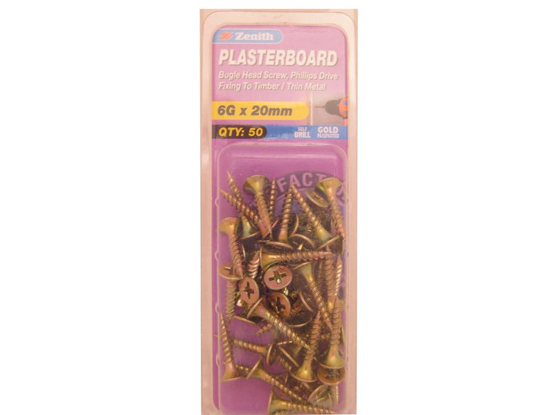Zenith Plasterboard Screws 6G x 20mm Gold Passivated 50 Pack