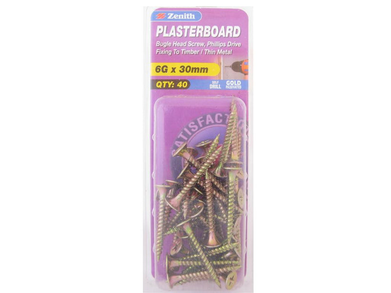 Zenith Plasterboard Screws 6G x 30mm Gold Passivated 40 Pack