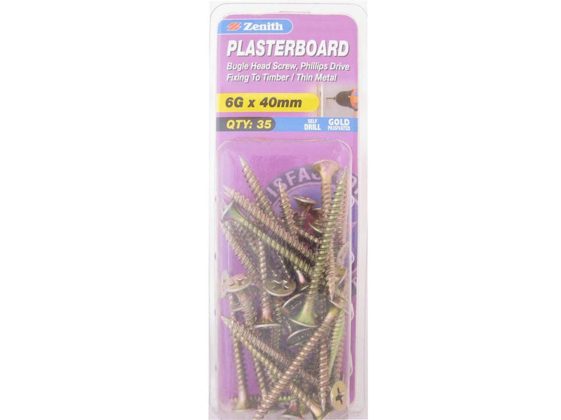 Zenith Plasterboard Screws 6G x 40mm Gold Passivated 35 Pack