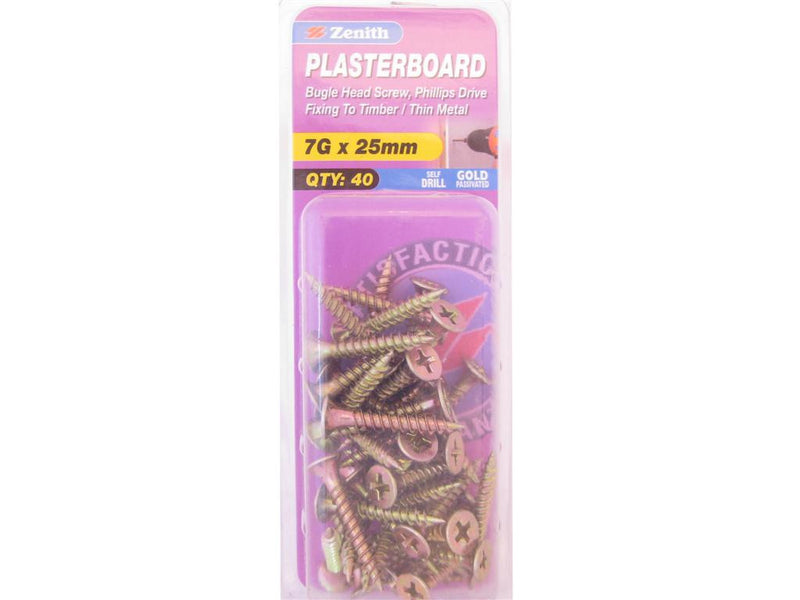 Zenith Plasterboard Screws 7G x 25mm Gold Passivated 40 Pack