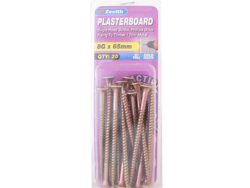 Zenith Plasterboard Screws 8G x 65mm Gold Passivated 20 Pack