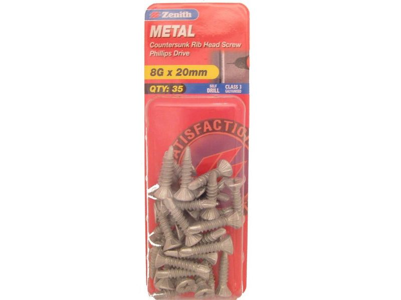 Zenith Metal Screw 8G x 20mm Galvanised 35 Pack