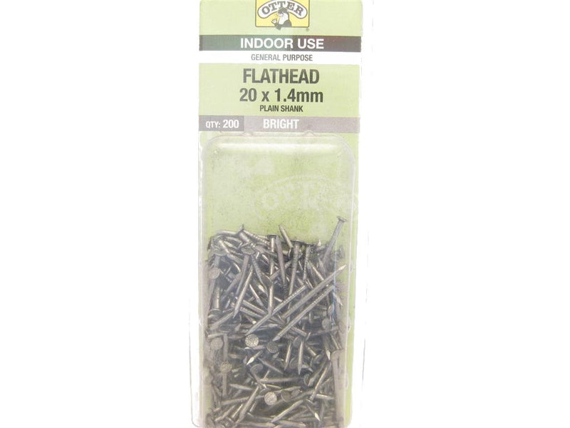 Flat Head Nails 20mm x 1.4mm Pack of 200
