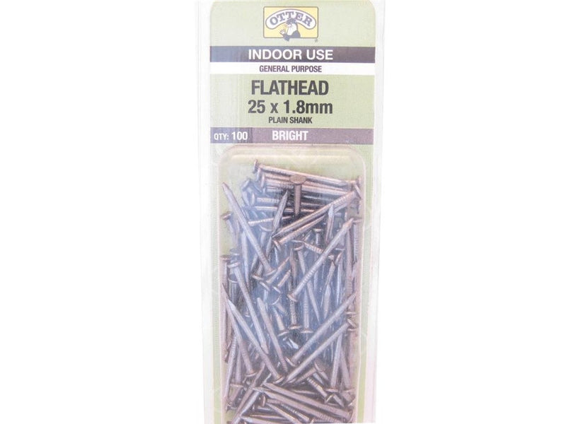 Flat Head Nails 25mm x 1.8mm Pack of 100