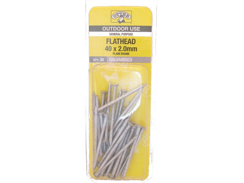 Galv Flat Head Nails 40mm x 2.0mm Pk of 30.