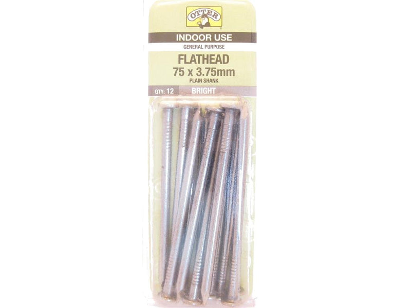 Flat Head Nails 75mm x 3.75mm Pack of 12