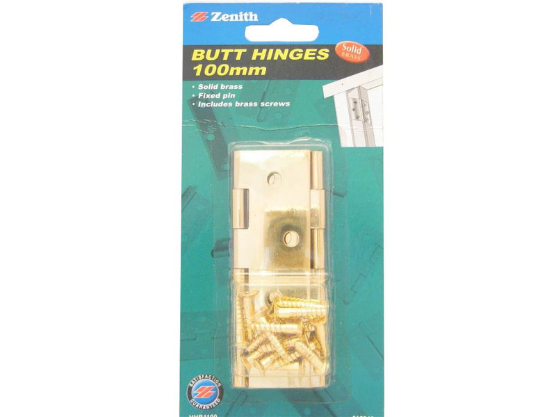 Zenith Butt Hinges 100mm Solid Brass Pack of 2