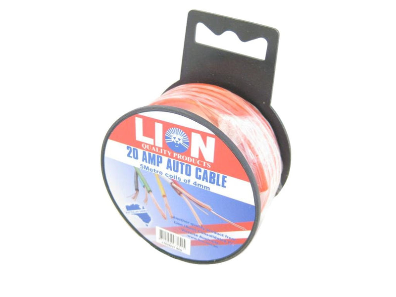 Lion Red 20 Amp Electrical Cable 5 Metre roll