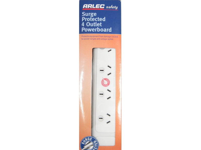 Arlec Surge Protected 4 Way Powerboard Outlet