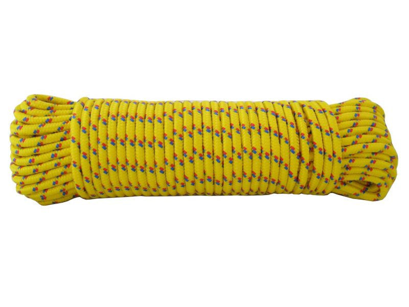 Yellow Braided Poly Rope 6mm x 30m