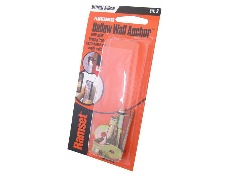 Ramset Hollow Wall Anchor Hooks 8mm to 16mm Pack of 2