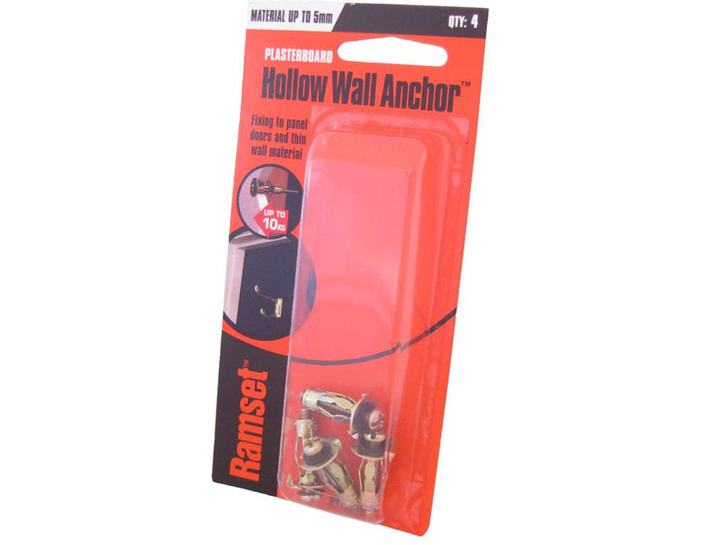 Ramset Hollow Wall Anchors up to 5mm Pack of 4
