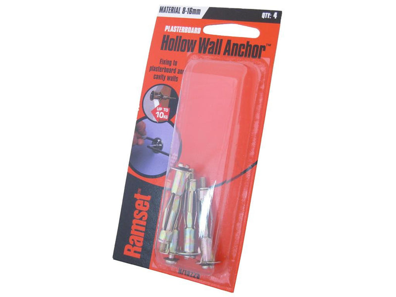 Ramset Hollow Wall Anchors 8mm to 16mm Pack of 4