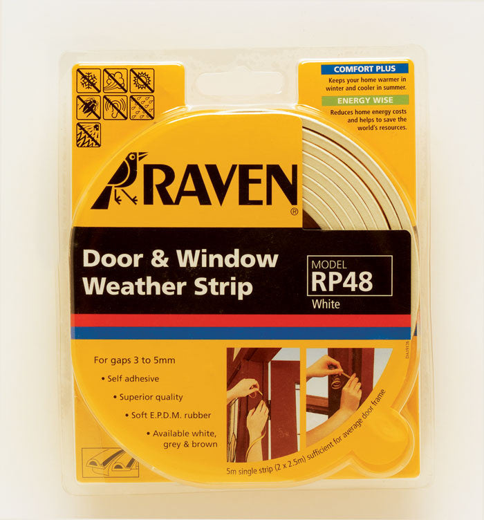 Raven White Door & Window Weather Strip: RP48W