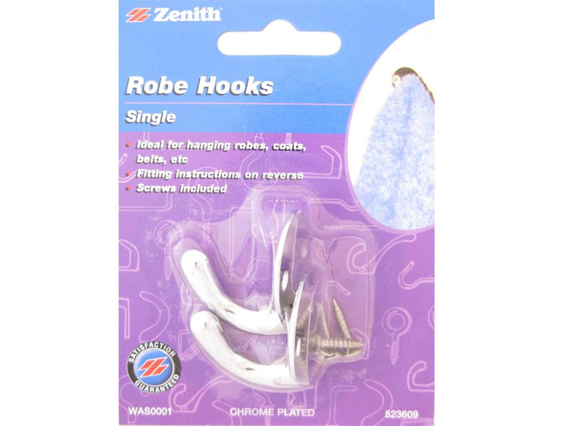 Zenith Single Robe Hooks Chrome Plated Pack of 2