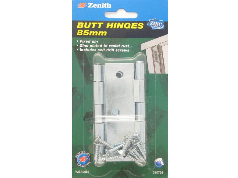 Zenith Butt Hinges 85mm Zinc Plated Pack of 2