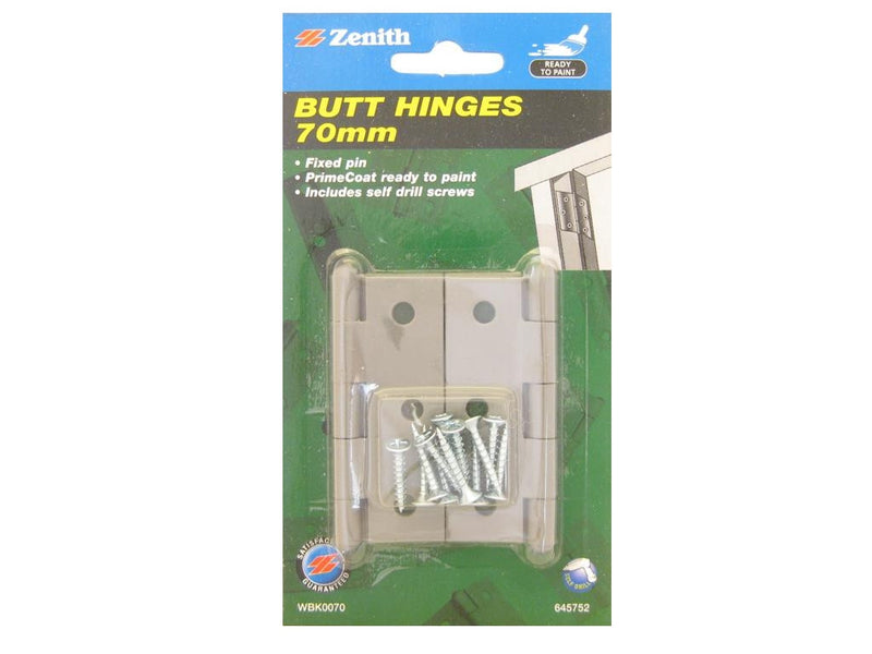 Zenith Butt Hinges 70mm Primecoat Pack of 2