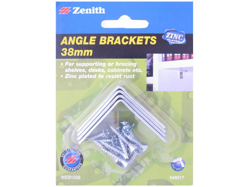 Zenith Angle Brackets 38mm Zinc Plated Pack of 4