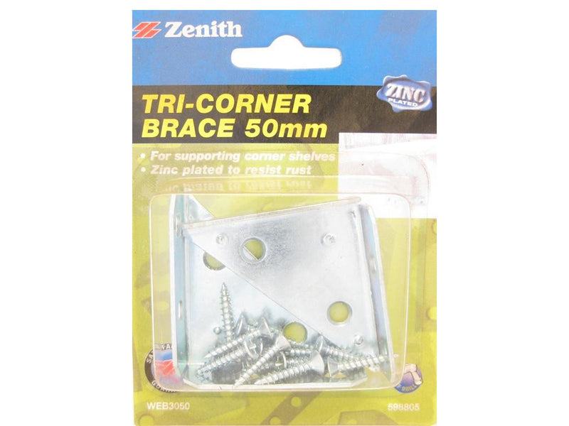 Zenith Tri-Corner Brace Bracket 50mm Zinc Plated Pack of 2