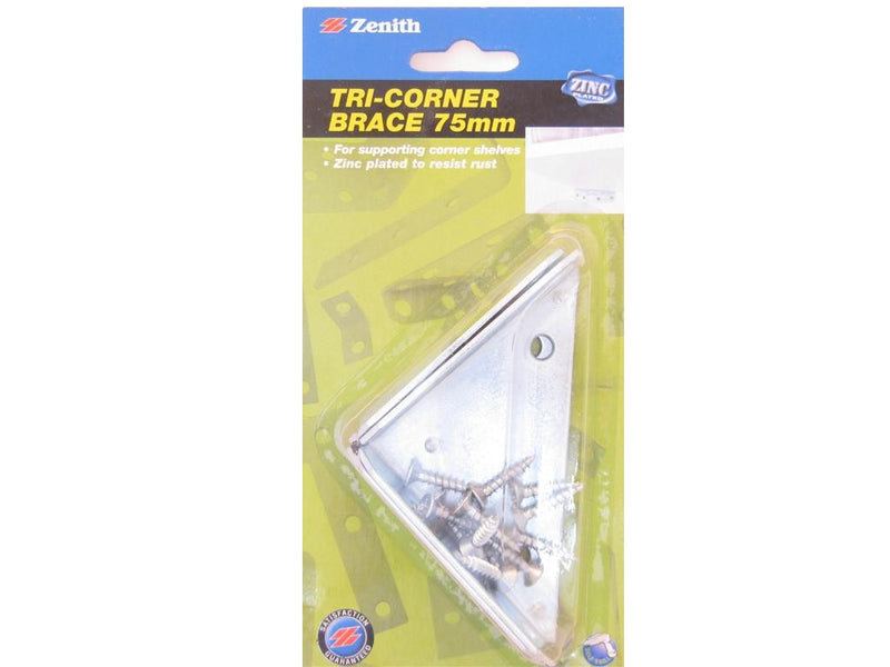 Zenith Tri-Corner Brace Bracket 75mm Zinc Plated Pack of 2