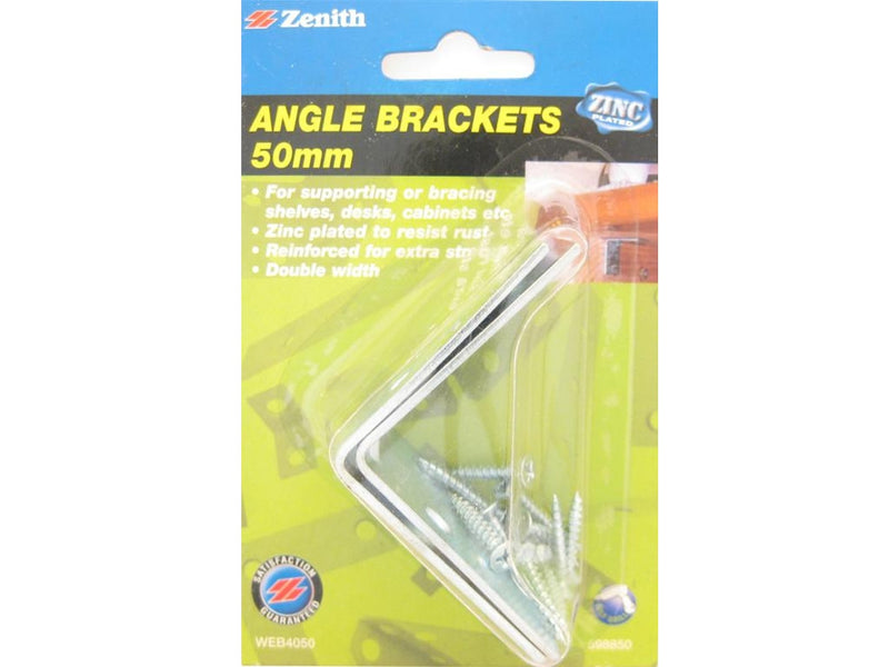 Zenith Angle Brackets Double Width 50mm Zinc Plated Pack of 2