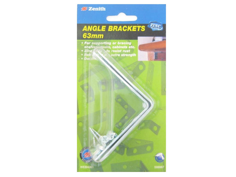 Zenith Angle Bracket Double Width 63mm Zinc Plated Pack of 2