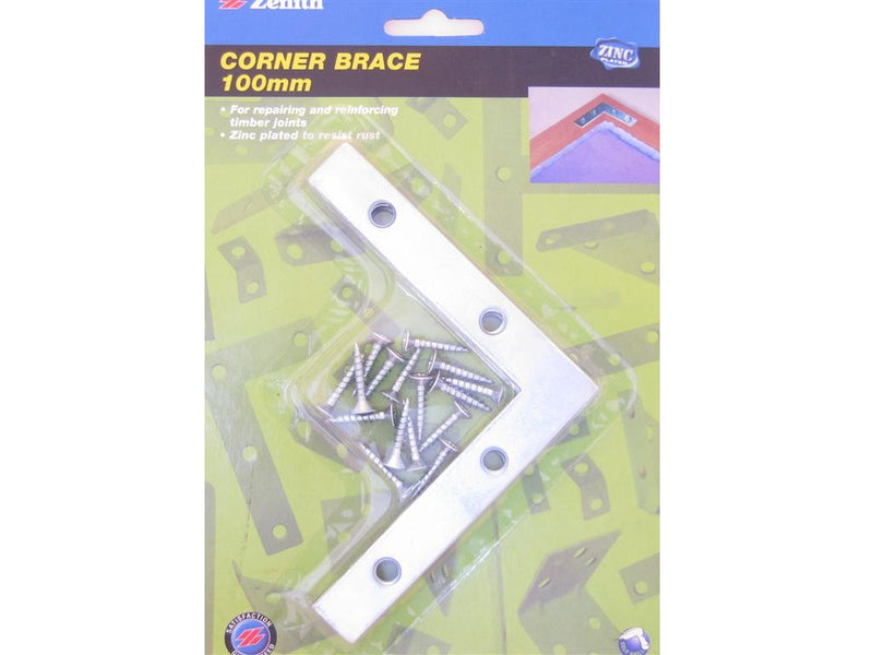 Zenith Corner Brace Bracket 100 x 18mm x 1.8mm Zinc Plated Pack of 4