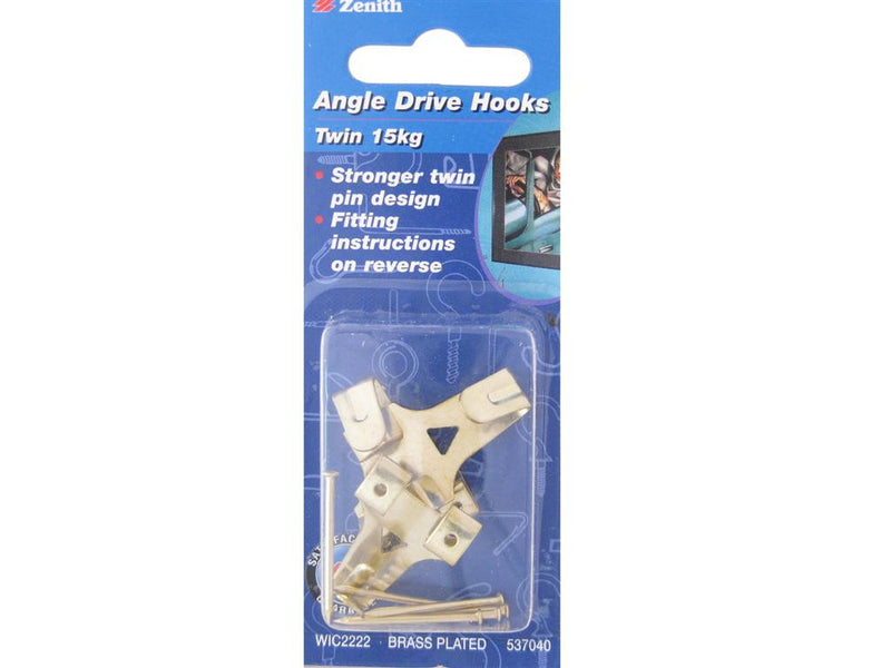 Zenith Angle Drive Picture Hooks 15kg Pack of 3