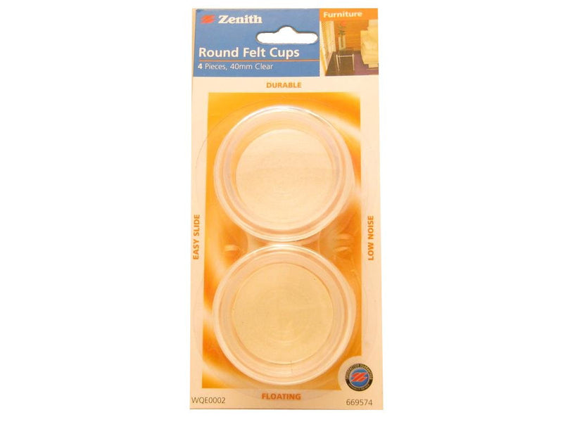 Castor Cup Clear 40mm Pack of 4