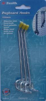Zenith 100mm Pegboard Hooks Pack of 3