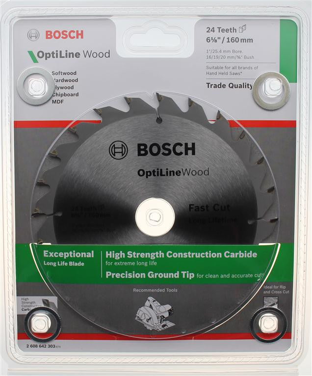 Bosch Optiline Wood Circular Saw Blade 160mm (6-1/4 Inch) 24 Teeth