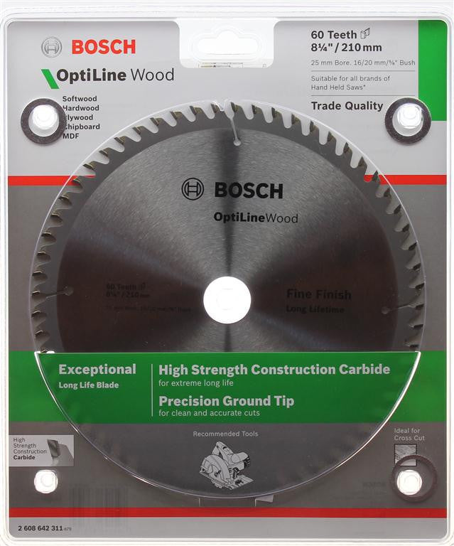 Bosch Optiline Wood Circular Saw Blade 210mm (8-1/4 Inch) 60 Teeth