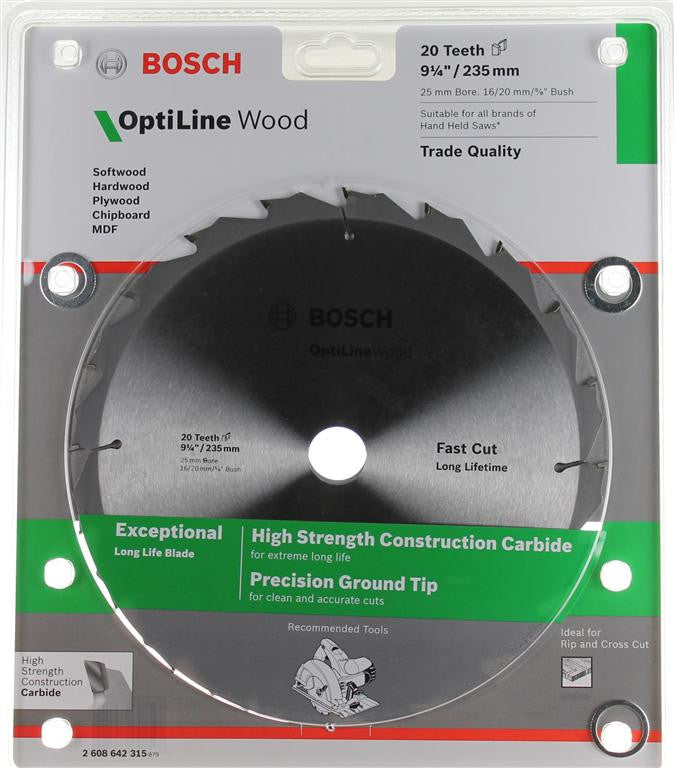 Bosch Optiline Wood Circular Saw Blade 235mm (9-1/4 Inch) 20 Teeth