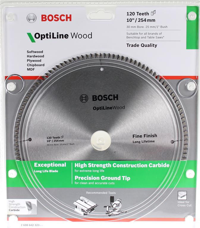 Bosch Optiline Wood Circular Saw Blade 254mm (10 Inch) 120 Teeth